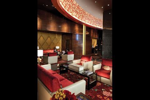 The ground foor entrance of Kohn Pedersen Fox's 47-storey, and casino-free, Mandarin Oriental hotel
